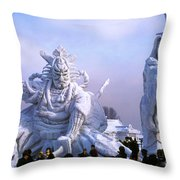 Frozen Samurai Warriors Throw Pillow
