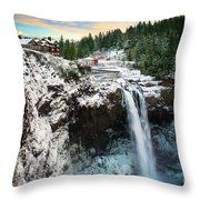 Frozen Snoqualmie Falls Throw Pillow