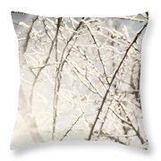 Frozen Tree Branches In Winter Throw Pillow