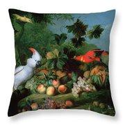 Fruit And Birds Throw Pillow