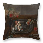 Fruit And Flowers On A Table Throw Pillow