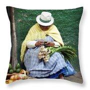 Fruit And Vegetable Vendor Cuenca Ecuador Throw Pillow