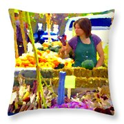 Fruit And Vegetable Vendor Roadside Food Stall Bazaars Grocery Market Scenes Carole Spandau Throw Pillow
