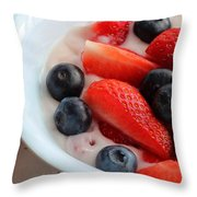Fruit And Yogurt Snack 2 Throw Pillow by Barbara Griffin