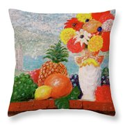 Fruit Flowers And Castle Throw Pillow