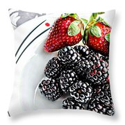 Fruit I - Strawberries - Blackberries Throw Pillow by Barbara Griffin