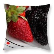 Fruit II - Strawberries - Blackberries Throw Pillow