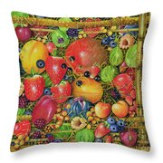 Fruit In Bamboo Box Throw Pillow