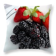 Fruit Iv - Strawberries - Blackberries Throw Pillow