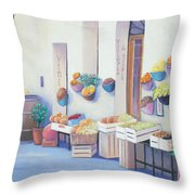 Fruit Market In Tuscany Throw Pillow