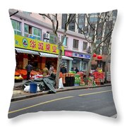 Fruit Shop And Street Scene Shanghai China Throw Pillow