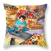 Fruit Shop In The Mountains Of Gran Canaria Throw Pillow
