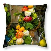 Fruit Stall In Vietnamese Market Throw Pillow