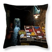 Fruit Stall Throw Pillow by Marion Galt