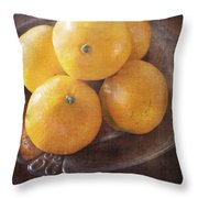 Fruit Still Life Oranges And Antique Silver Throw Pillow