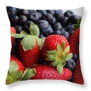 Fruit - Strawberries - Blueberries Throw Pillow