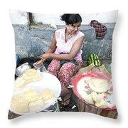 Fruit Vendor On Street Yangon Myanmar Throw Pillow