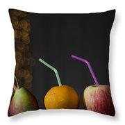 Fruit With Straws Throw Pillow
