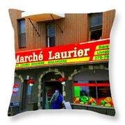 Fruiterie Marche Laurier Butcher Boulangerie De Pain Produits Quebec Market Scenes Carole Spandau  Throw Pillow