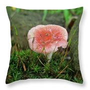 Fruiting Moss And Pink Mushroom Throw Pillow