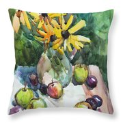 Fruits And Camomiles Throw Pillow