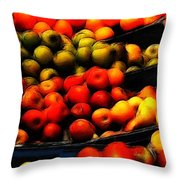 Fruits On The Market Throw Pillow