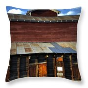 Ft Collins Barn 13553 Throw Pillow by Jerry Sodorff