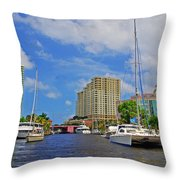 Ft. Lauderdale Canal Throw Pillow