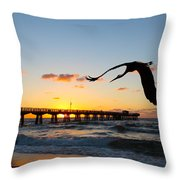 Ft Lauderdale Fishing Pier Throw Pillow