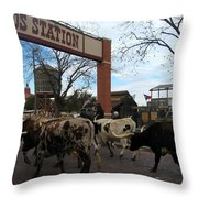 Ft Worth Trail Ride At Ft Worth Stockyard Throw Pillow