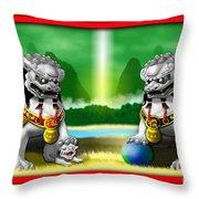 Fu Dog Guardians Throw Pillow