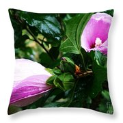 Fuchsia Flowers Laced In Droplets Throw Pillow