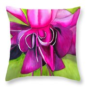 Fuchsia Macro Throw Pillow