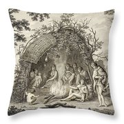Fuegans In Their Hut, 18th Century Throw Pillow