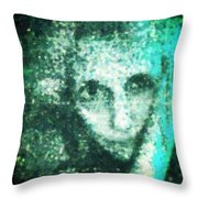 Fugue In Black And Cyan Throw Pillow