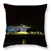 Full Blood Moon Over The St. Petersburg Pier Throw Pillow