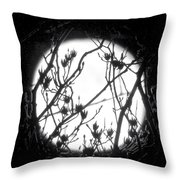 Full Moon And Poplar Branches Throw Pillow