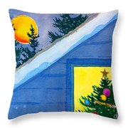 Full Moon At Christmas Throw Pillow