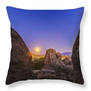 Full Moon At City Of Rocks Throw Pillow