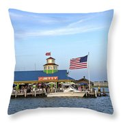 Full Moon At The Jetty Throw Pillow