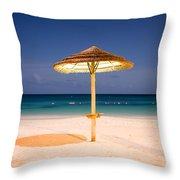 Full Moon Beach Hut Throw Pillow