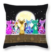 Full Moon Felines Throw Pillow