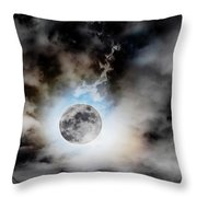 Full Moon  In Stormy Sky Throw Pillow