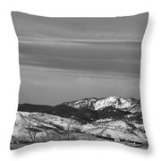 Full Moon On The Co Front Range Bw Throw Pillow