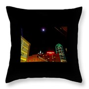 Full Moon Over Dallas Streets Throw Pillow