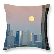 Full Moon Over Downtown Houston Skyline Throw Pillow