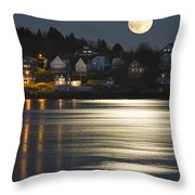 Full Moon Over Kennebec River Georgetown Island Maine Throw Pillow