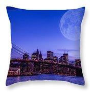 Full Moon Over Manhattan II Throw Pillow