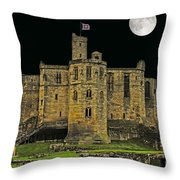 Full Moon Over Medieval Ruins Throw Pillow