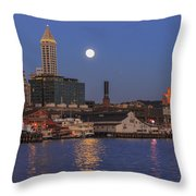 Full Moon Over Pioneer Square Throw Pillow